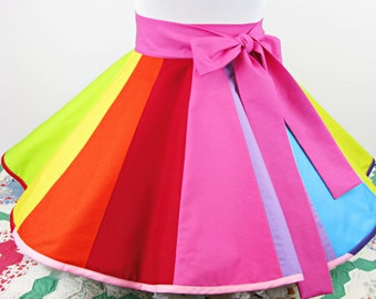 Colorful Rainbow Half Apron with Hidden Pocket Yay! Made to Order