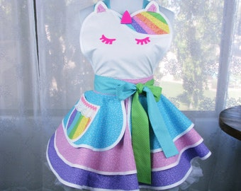 Unicorn Sparkle Glitter Apron with Rainbows Made to Order