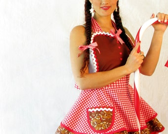 Gingerbread Gingham Christmas Apron Made to Order