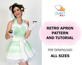 Women's Retro Apron Sewing Pattern and Tutorial