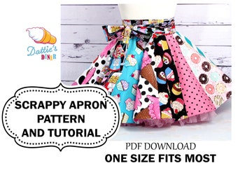 Scrappy Apron Tutorial and Pattern PDF, to Make with Scraps or Fat Quarters