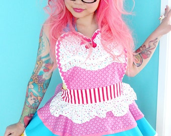 Ice Cream Shop Sprinkles and Waffle Cone Apron Made to Order