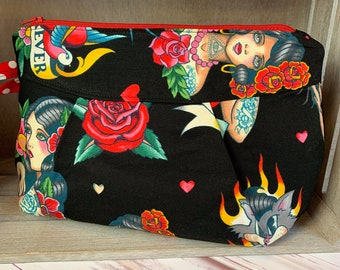 Tattoo Pinup Wristlet or Cosmetics Bag Don't Gamble With Love