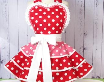 Cherry Bubblegum Retro Apron Made to Order