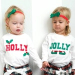 "Holiday ""Holly & Jolly"" Bodysuit set for twins (or siblings), great Christmas gift for TWINS"