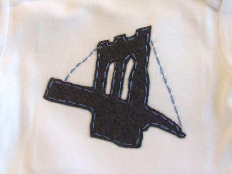 Great Shower gift for TWINS or siblings Brooklyn Bridge TWIN baby bodysuit Set