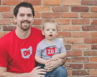 Daddy and Me OH-IO t-shirt set, Father Son Matching T-Shirt Set, great gift for father's day or any new dad