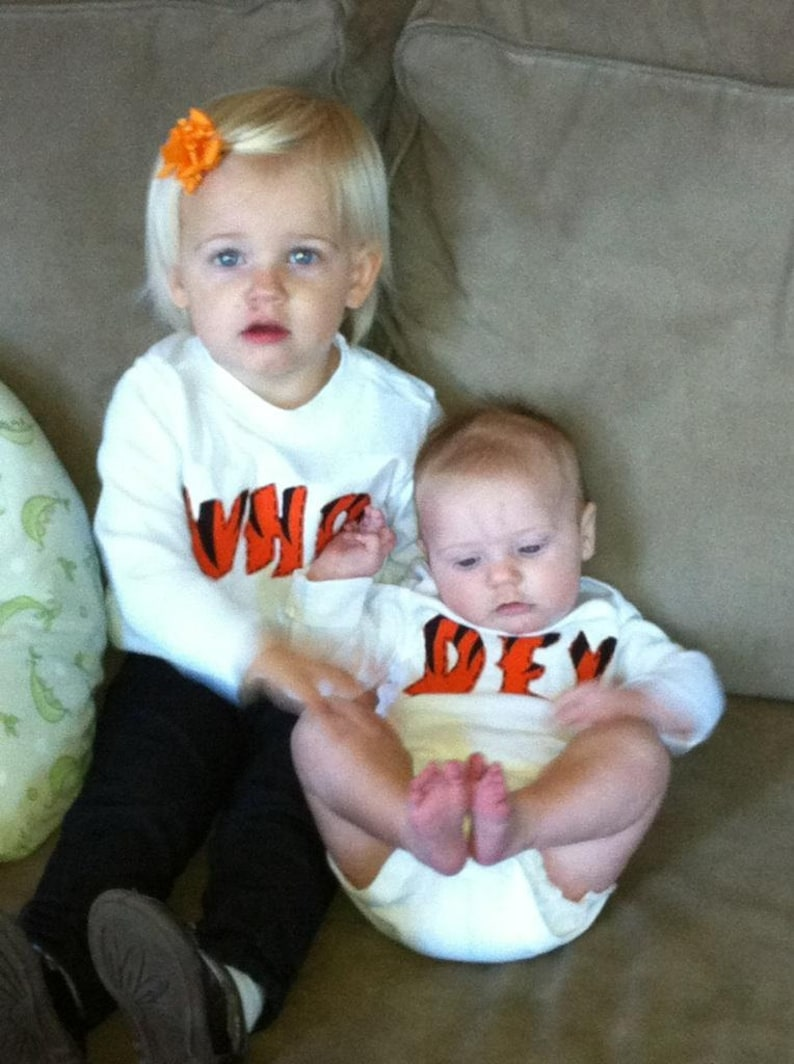 Who Dey Bengals TWIN Set of Baby Bodysuits Great Shower gift for TWINS or siblings