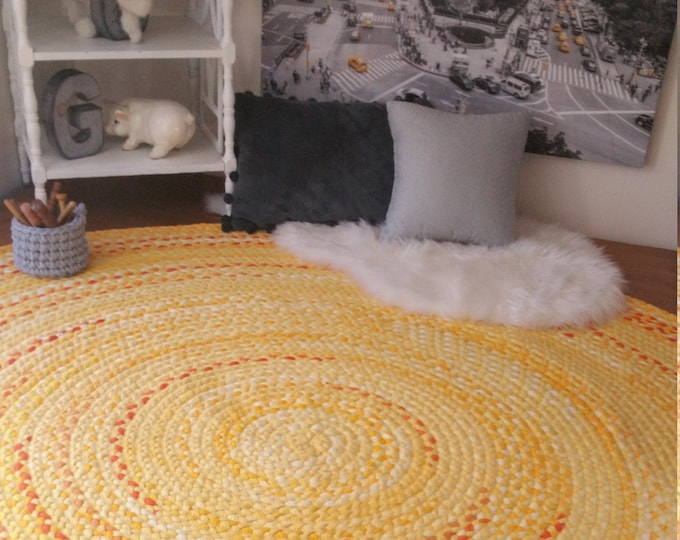 Yellow braided rug Made to order with pops of orange