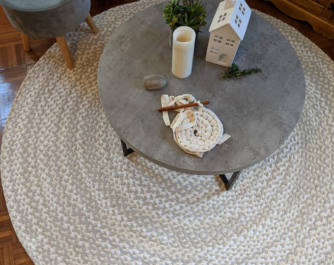gray,natural, white and sand braided rug from cotton t shirts handmade in the usa
