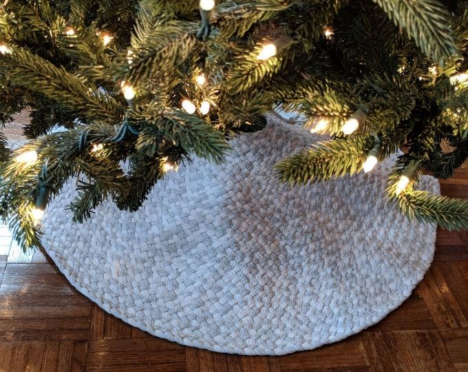 gray and white braided rug Christmas tree skirt