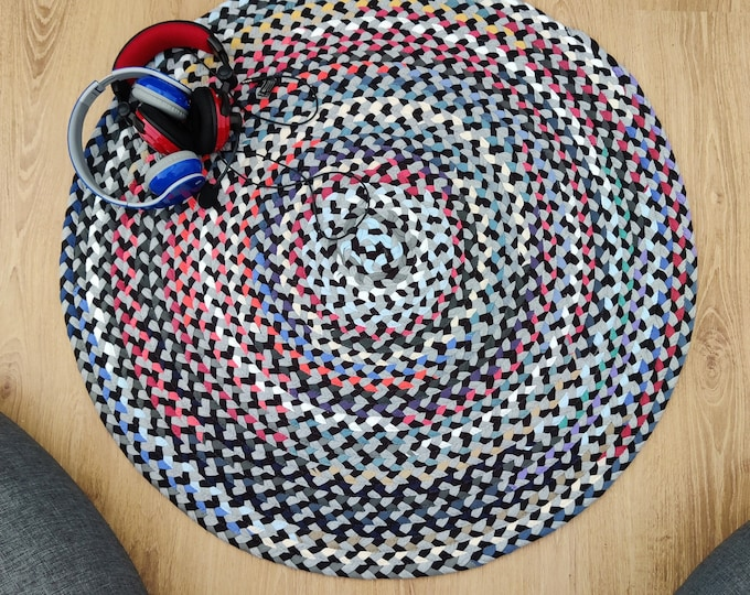 """Featured listing image: gray multi color braided rug from cotton t shirts handmade in the usa 39"""""""