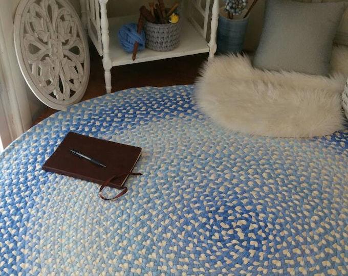 Peter rabbit blue cotton braided rug