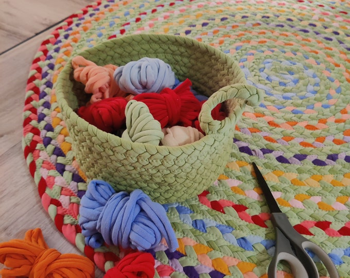 "Featured listing image: 38"" flower garden cotton braided rug or basket"