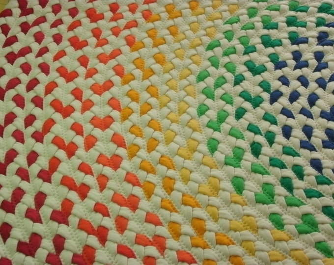 10% OFF select a size....Rainbow Rug made from braided new and recycled t shirts