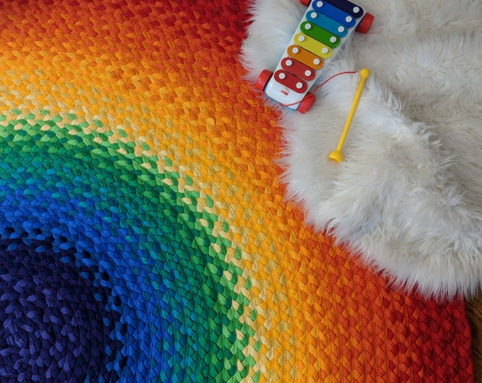 """Featured listing image: 48""""  Rainbow Rug made from braided recycled t shirt green at heart rugs"""