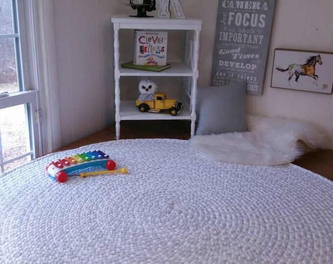light ash gray and white braided nursery rug from cotton t shirts