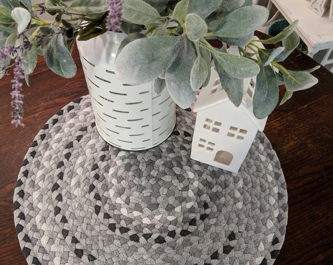 "21"" gray cotton braided rug table runner"