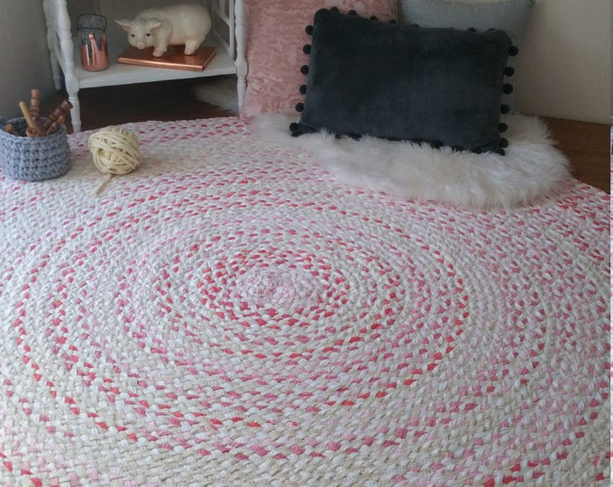 "60"" rose gold braided rug, with white and natural blend of color shabby chic style"