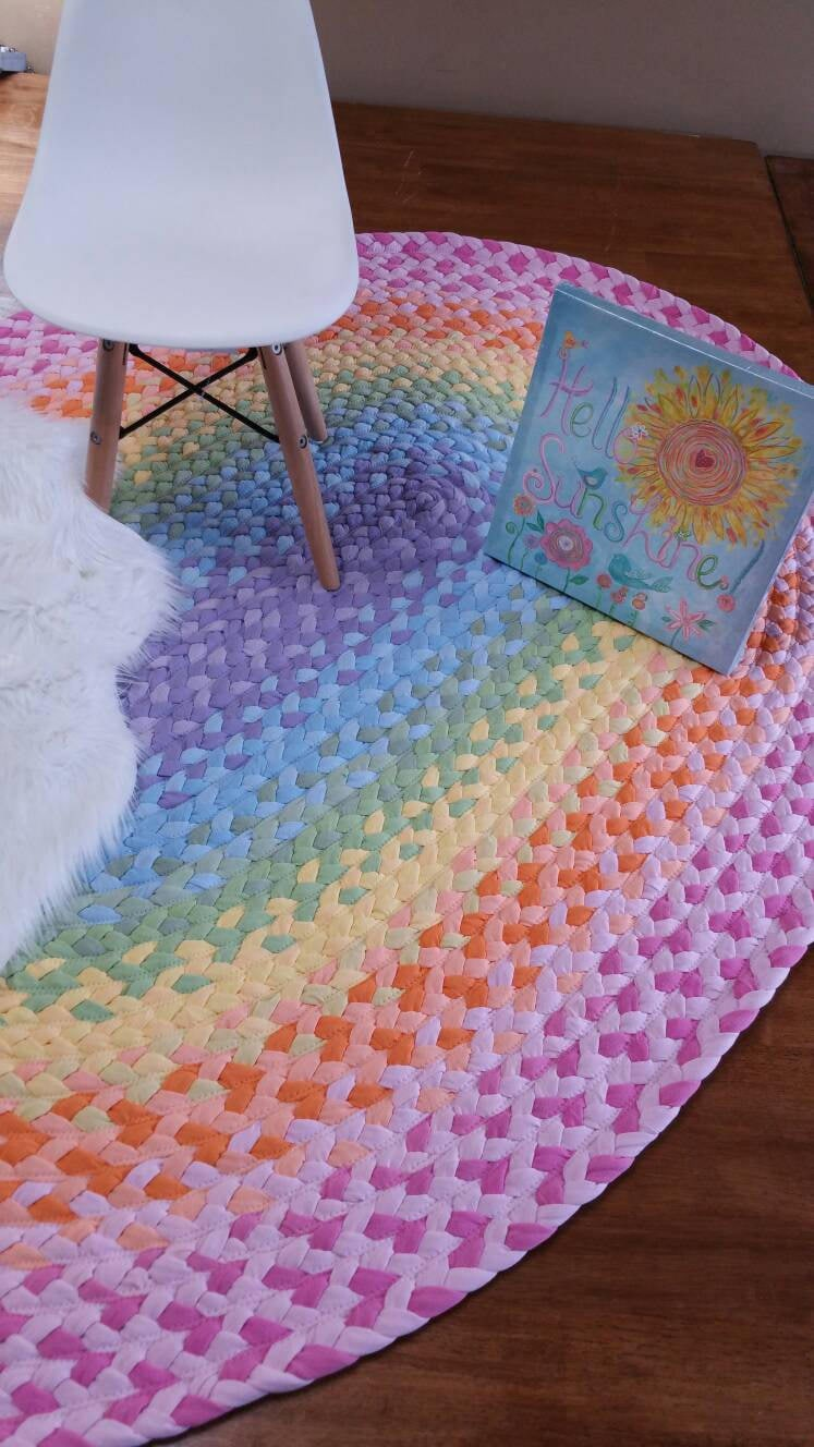 36 X 54 Pastel Rainbow Braided Rug Lavender Light Blue Pistchio