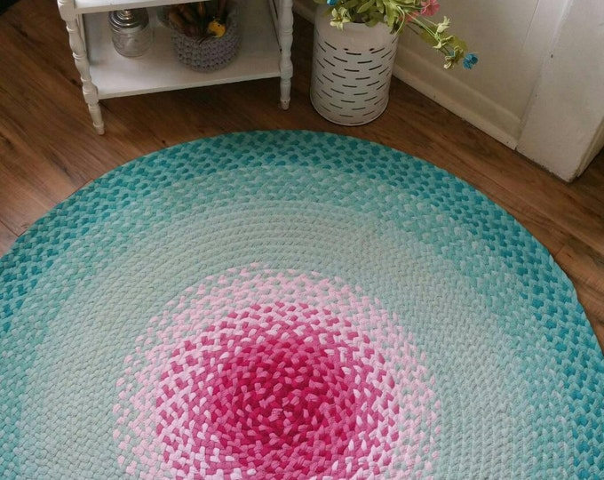 """50""""  ready to ship Pink and misty mint braided rug aqua"""