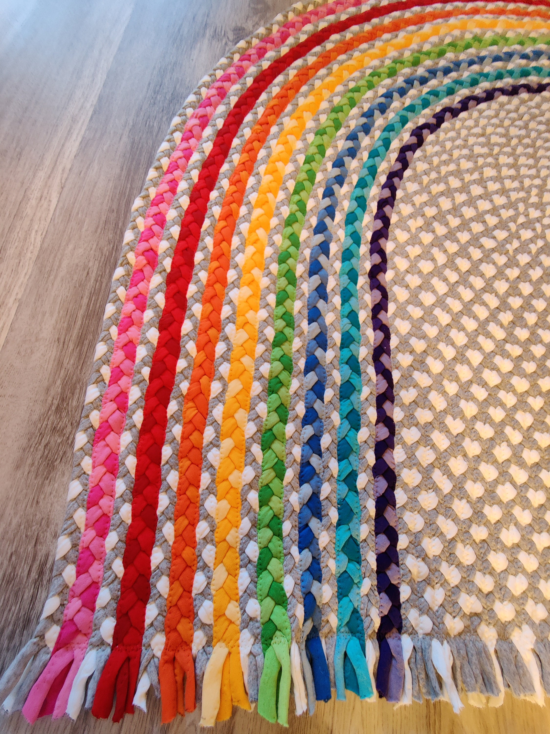 55 X 43 Rainbow Rug Made From Braided Recycled T Shirt
