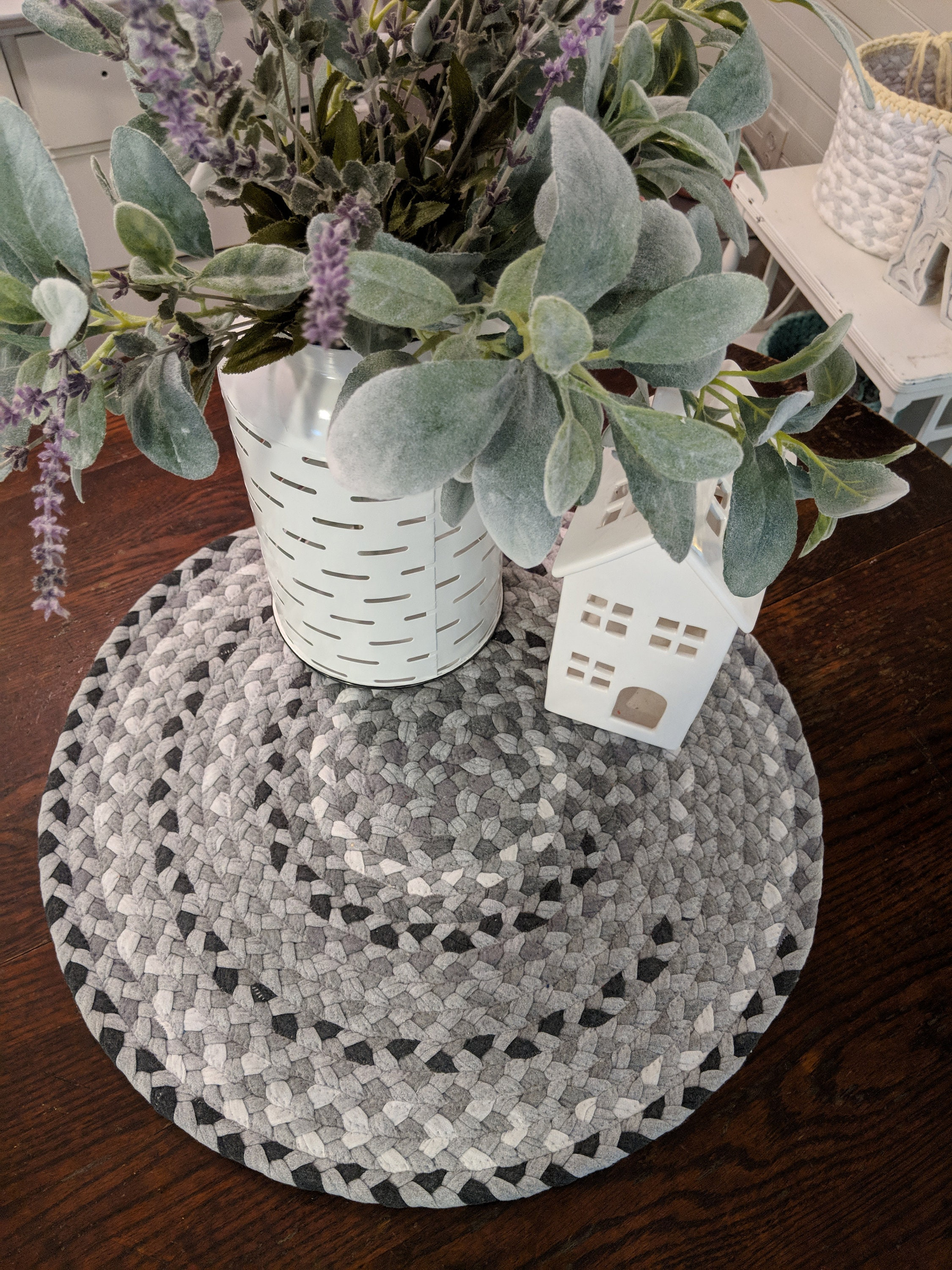 21 Gray Cotton Braided Rug Table Runner