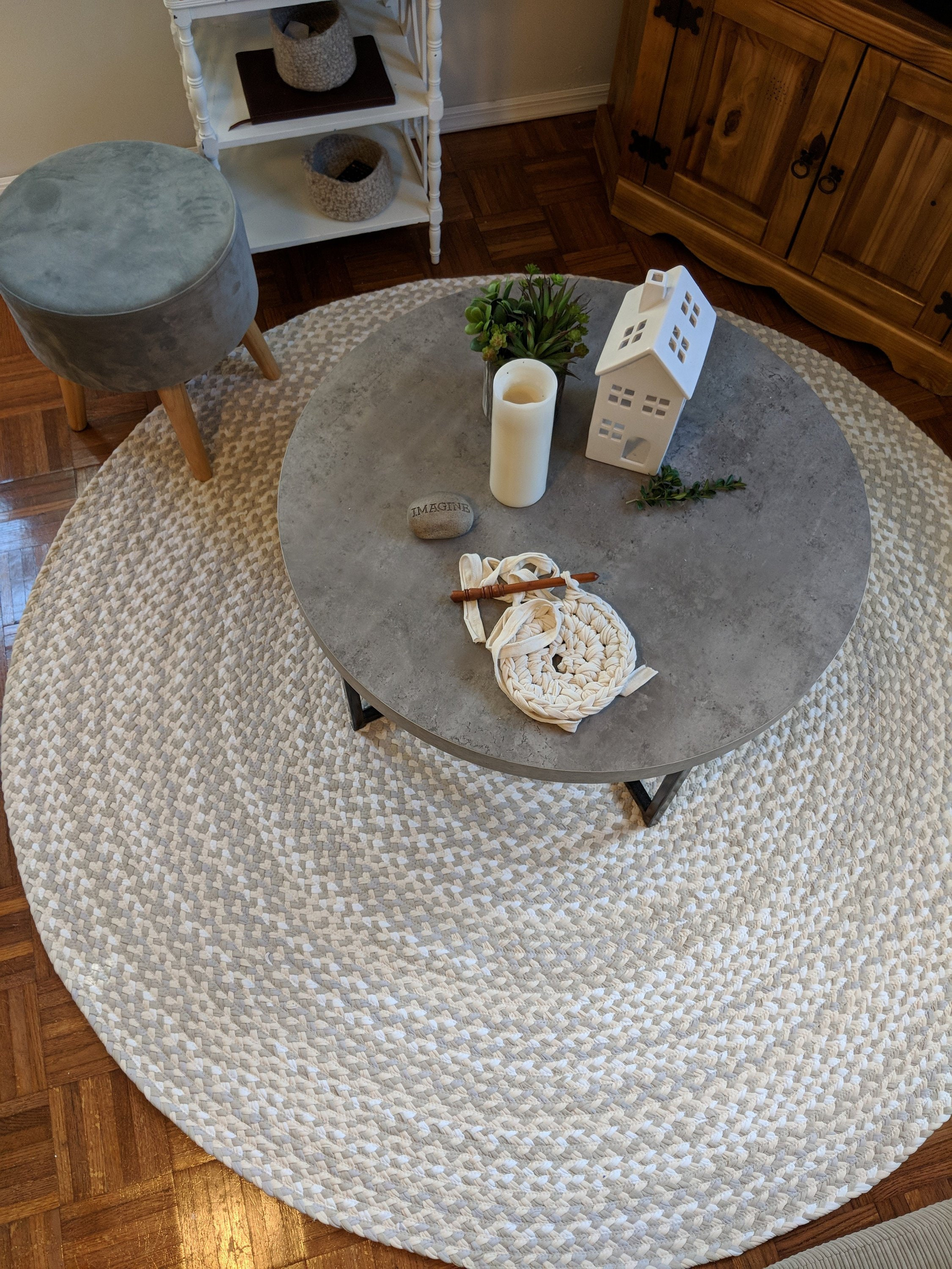 Gray Natural White And Sand Braided Rug From Cotton T Shirts