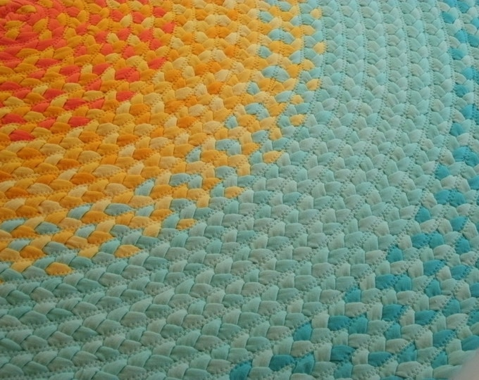 Recycled Hand Braided Round Area Rug --100% Cotton Floor Rug in Mint Green and Yellow