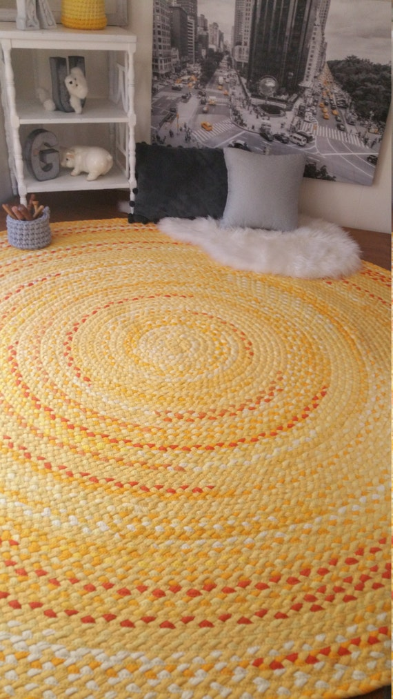 Yellow Braided Rug