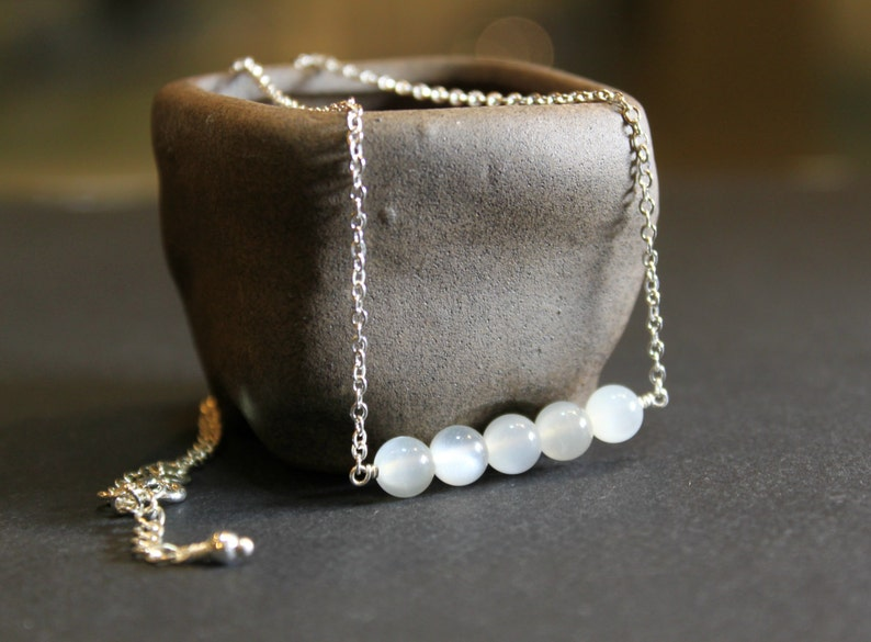 Minimalist Moonstone Necklace Dainty Necklace Meaningful gift Mothers gift Gift for her Birthday gift June Birthstone Gemini Zodiac Jewelry