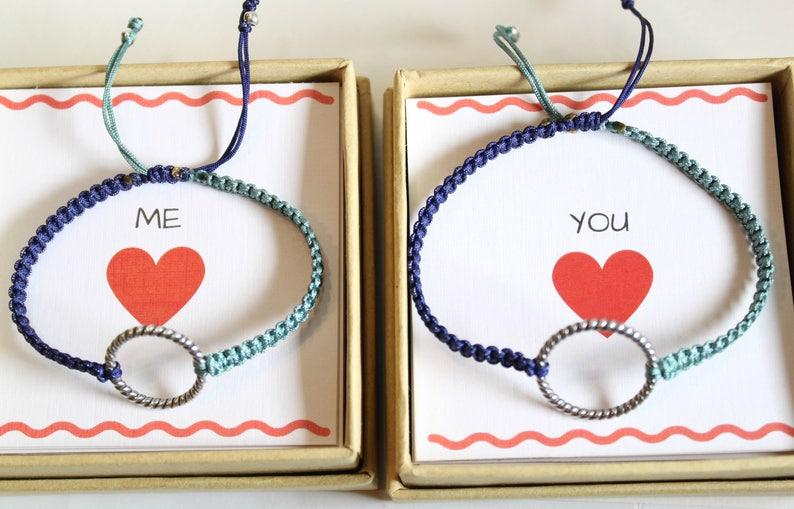 Silver Circle Bracelets Thread Handknotted Bracelets Friendship Bracelets Couples Bracelets Sterling Silver Rings Eternity bracelets