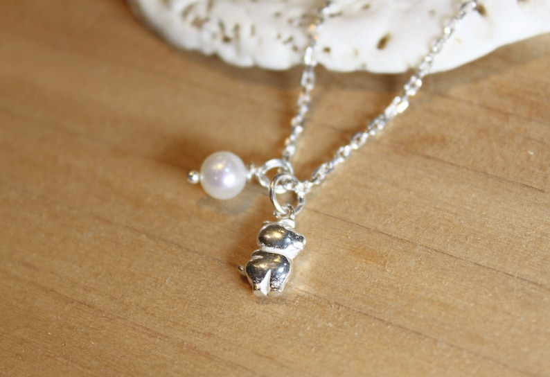 Baby Gift Gift for her Zodiac jewelry,Birthstone Birthday Gift Dainty Silver Pig Baby Pearl Necklace,Birth animal