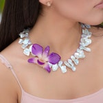 Real Orchid Necklace - Tropical Jewelry Gift - Preserved Flower Necklace