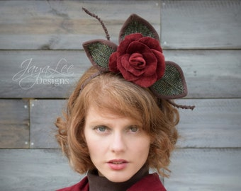 Red Rose Fascinator Headpiece, Velvet Flower Hat Headband