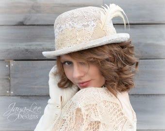 Magnolia Lace Bowler Hat, Victorian Chic, Shabby Chic, Mori Girl Fashion, Boho Chic