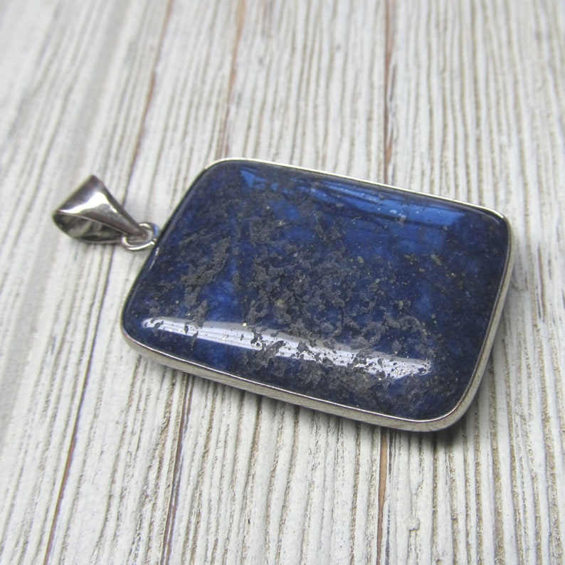 Lapis Lazuli Blue Stone With Gold Flecks Rectangle Pendent 35 image 0