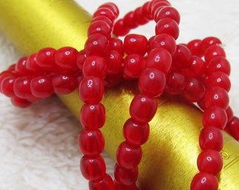 Czech Glass Druk Beads 4mm Shiny Candy Apple Red Smooth Rounds - 50 Pieces