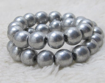 Czech Glass Beads 6mm Metallic Silver Smooth Rounds - 30 Pieces