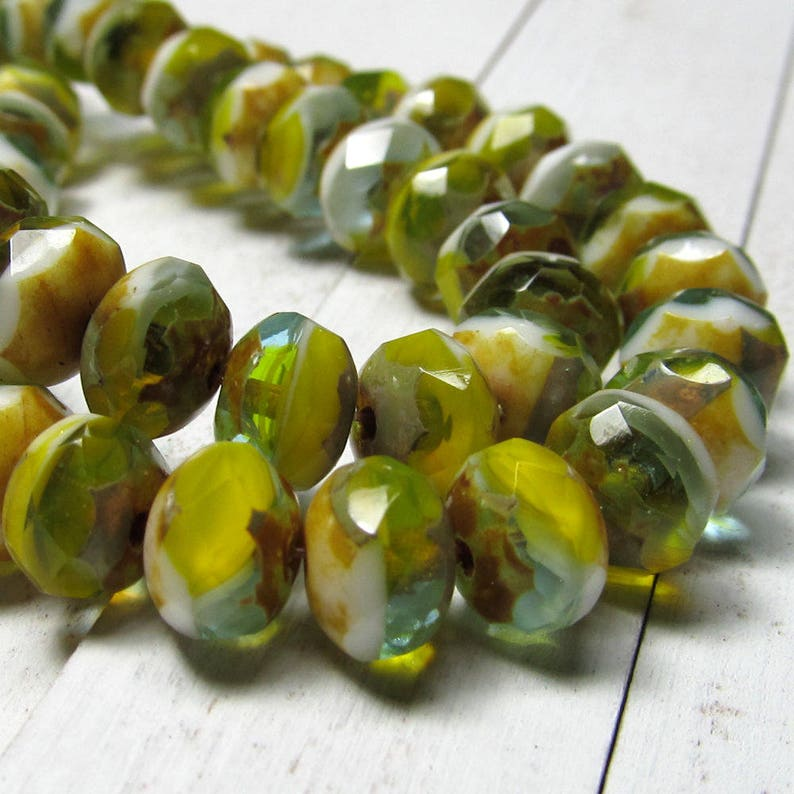 Czech Glass Beads 9 X 6mm Olive Green White and Scotch yellow image 0