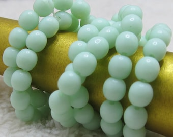Czech Glass Beads 4mm Mint Green Shiny Smooth Rounds - 50 Pieces