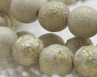 Czech Glass Beads 6mm Beige Background Washed in a Gold Satin Finish Smooth Rounds - 30 Pieces