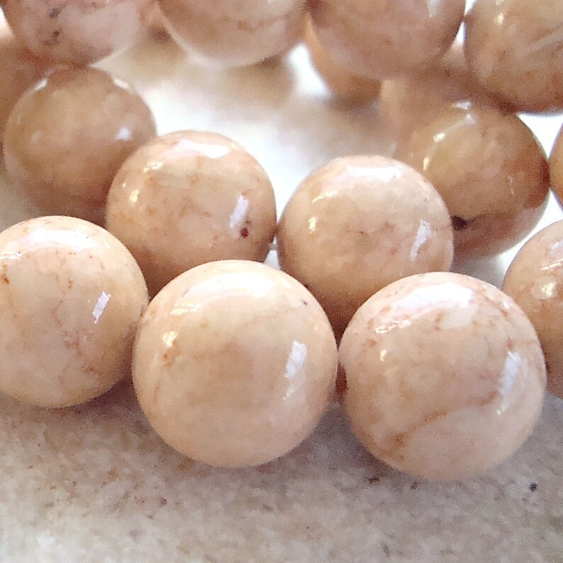 Fossil Beads 12mm Natural Desert Sand Brown Smooth Round image 0