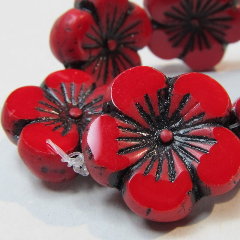 Five Petal 22 X 6mm Two Sided Hibiscus Glass Flower in a Solid image 0