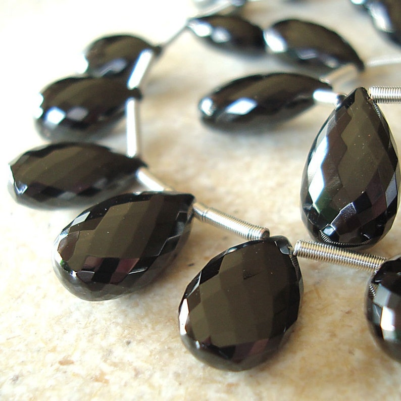 Spinel Beads 20 x 14mm Faceted Lustrous Jet Black Teardrops  image 0