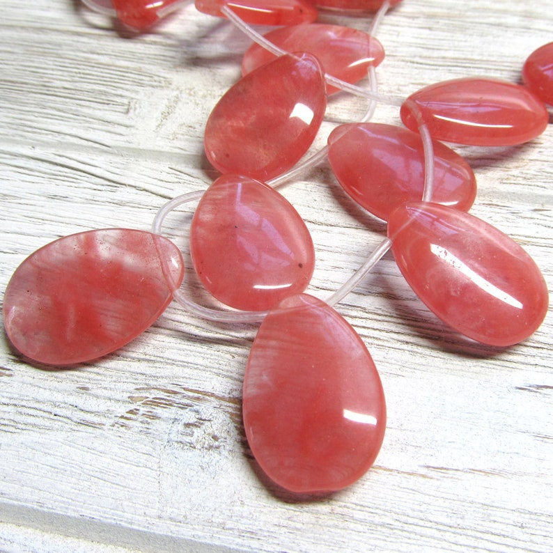 Quartz Beads 30 x 20mm Watermelon Pink Smooth Cherry Quartz image 0