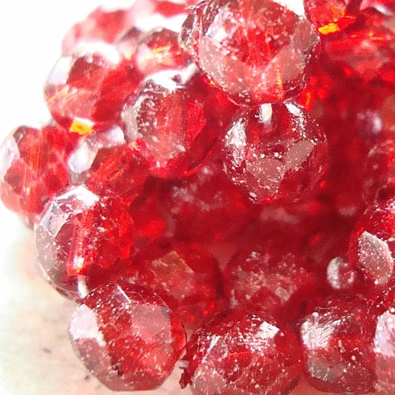 Czech Glass Beads 8mm Ruby Red Sparkled Silver Faceted Rounds image 0