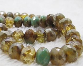 Czech Glass Beads 6x8mm Rondelle Champagne and Sea Green with Picasso Finish Faceted Rondelles - 12 Pieces