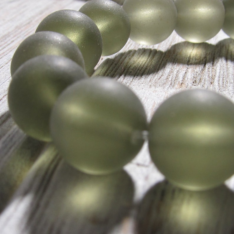 Sea Glass Beads 12mm Smooth Frosted Smoke Semi Transluscent image 0