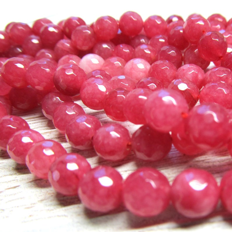 Jade Beads 8mm Rosebud Candy Faceted Rounds   8 inch strand image 0